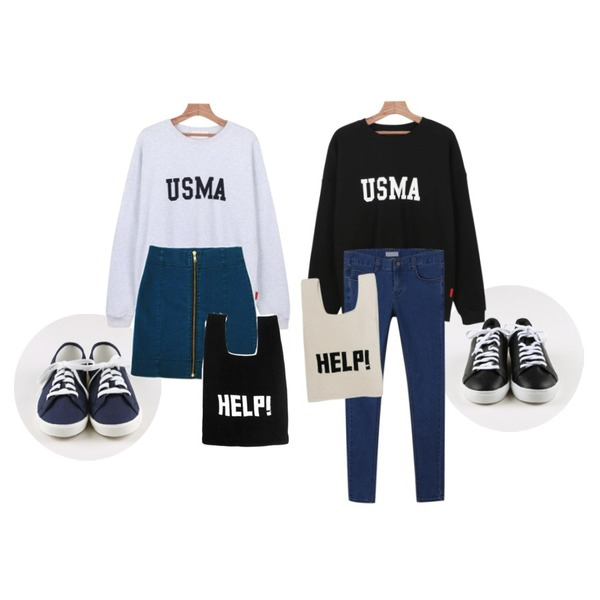 daily monday USMA printing man-to-man,daily monday Simple back point sneakers,daily monday Basic tennis shoes등을 매치한 코디