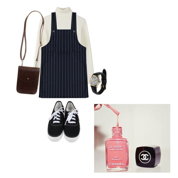 biznshoe Slim wool turtle-top (4color),daily monday All day basic sneakers,Rough & Detail bob stripe overalls, sk_navy등을 매치한 코디