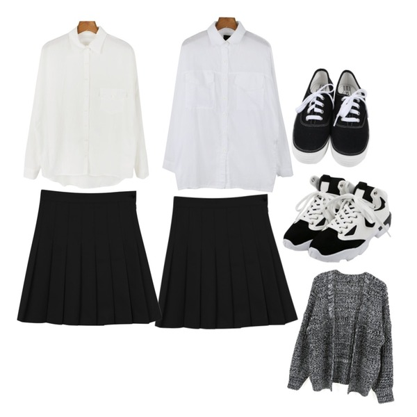 daily monday Over fit linen shirt,daily monday Slim gauze shirts,daily monday Spring pleats skirt등을 매치한 코디