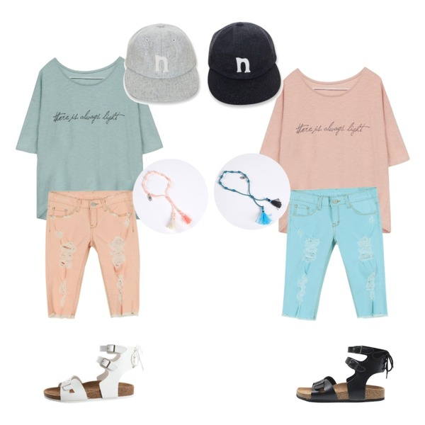 Rough & Detail pastel slub open, t_pink,Rough & Detail pastel slub open, t_mint,daily monday Damage color midi pants(4colors)등을 매치한 코디