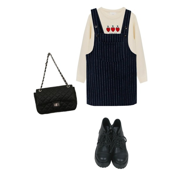 Brownbunny 오르도,Rough & Detail stripe suspenders, ops,Rough & Detail cherry heart, knit_ivory등을 매치한 코디