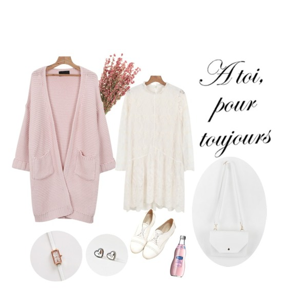 daily monday Feminine lace one-piece,flower,daily monday Color long loose fit cardigan등을 매치한 코디