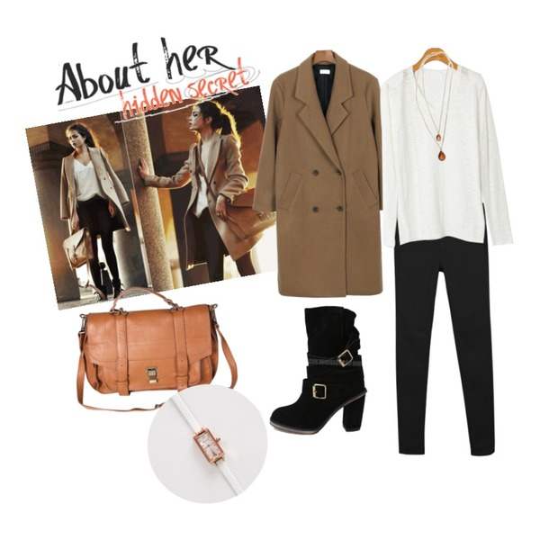 Untitled,daily monday Double long coat[더블코트,롱코트,코트],daily monday Colorful slim skinny등을 매치한 코디