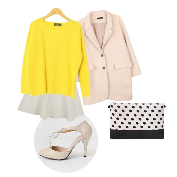 Rough & Detail 브랜드뉴미  스커트 ...,Monobarbie  렐라린Red/Beige/Yellow/Black 9.5cm,biznshoe Simple tailor jacket (2color)등을 매치한 코디