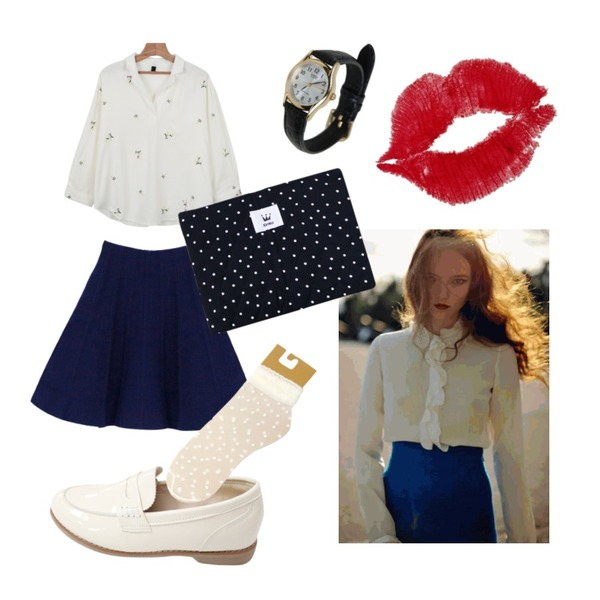 Untitled,daily monday Flower V-neck collar blouse,Rough & Detail kyuran loafer, shoes_ivory등을 매치한 코디