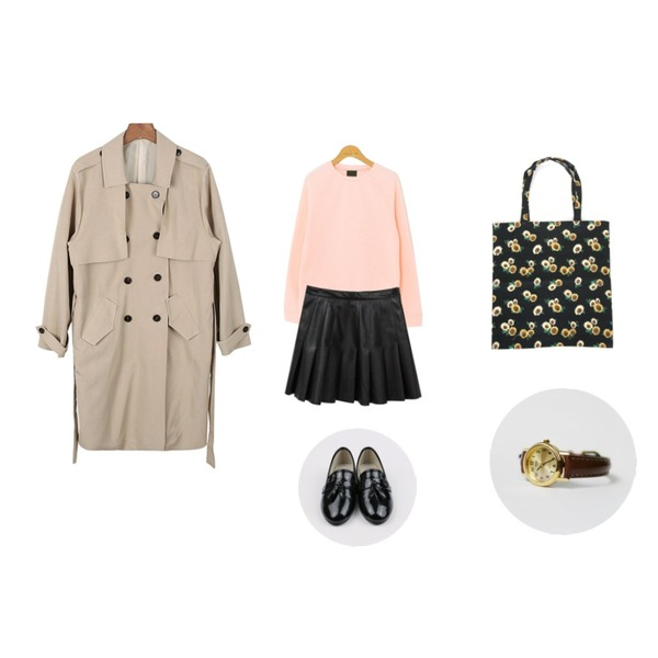Rough & Detail 기모 니트 맨투맨 T,Rough & Detail leather pleated, sk,daily monday Soft spring trench coat등을 매치한 코디