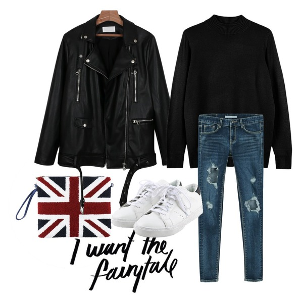@thewriting,daily monday Union jack multi clutch bag,daily monday Formal leather jacket등을 매치한 코디