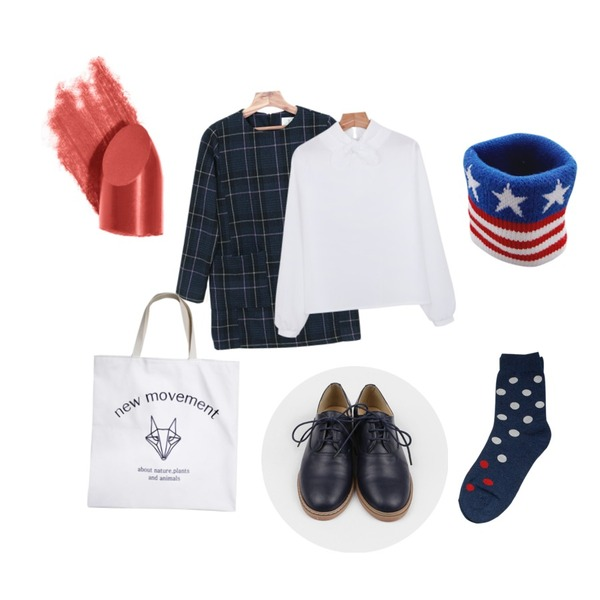 biznshoe Dot point socks (3color),Zemma World 성조기 (아대),daily monday Fresh basic loafer등을 매치한 코디