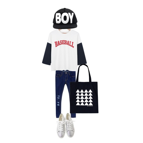 daily monday Baseball sports tee,Rough & Detail destroyed skinny, pt_blue,Rough & Detail sugar combination, shoes_silver등을 매치한 코디