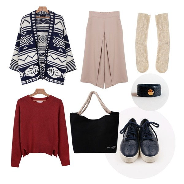daily monday Bright minimal knit,daily monday Center line wide slacks,daily monday Fish over cardigan등을 매치한 코디