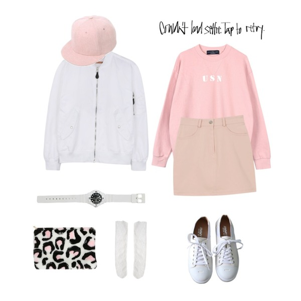 daily monday Basic pastel skirt,biznshoe USN unisex man-to-man (4color),daily monday Glossy basic flight jumper등을 매치한 코디