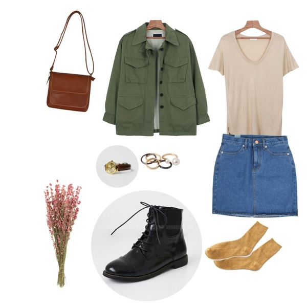 daily monday Brown Leather Watch,Salon de byme AA denim sk ( 진청 , 중청 , 연청 ),daily monday Seasons natural tee등을 매치한 코디