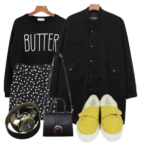 daily monday Butter lettering man-to-man,Rough & Detail honey dot flower, sk_black,daily monday Long daily-item yasang등을 매치한 코디
