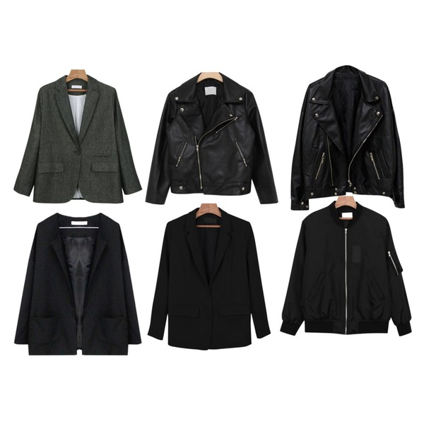 Rough & Detail yes no collar, jk_black,MIND ME 스탠다드 지퍼 카라 라이더 jk,daily monday Standard boyfit jacket등을 매치한 코디