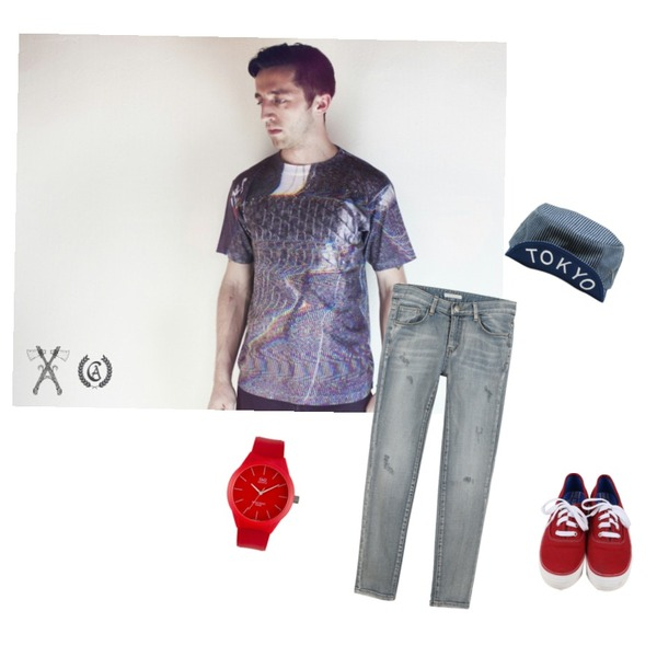 Brownbunny [SIMPLE]color jelly style2 RED,daily monday All day basic sneakers,glitch tee, civil-ape.com등을 매치한 코디