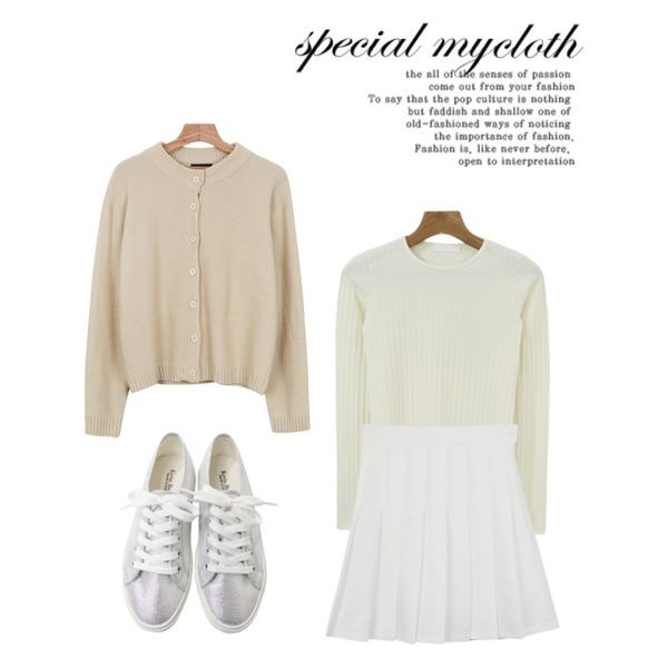 daily monday Spring pleats skirt,daily monday Soft knit tee(4colors) 13일 입고,Rough & Detail sugar combination, shoes_silver등을 매치한 코디