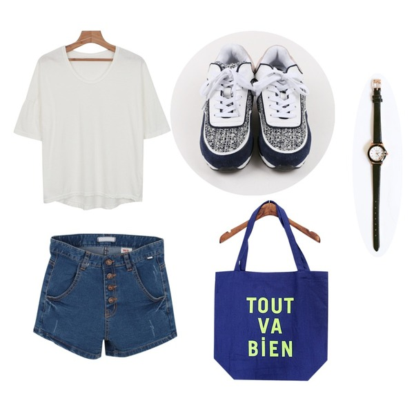 Rough & Detail 브랜드뉴미  데님 사...,daily monday Unique active sneakers,daily monday Round U-neck 1/2 tee등을 매치한 코디