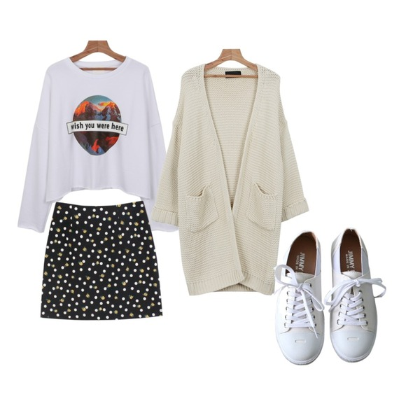 daily monday Color long loose fit cardigan,Rough & Detail honey dot flower, sk_black,daily monday Wish cutting man to man등을 매치한 코디