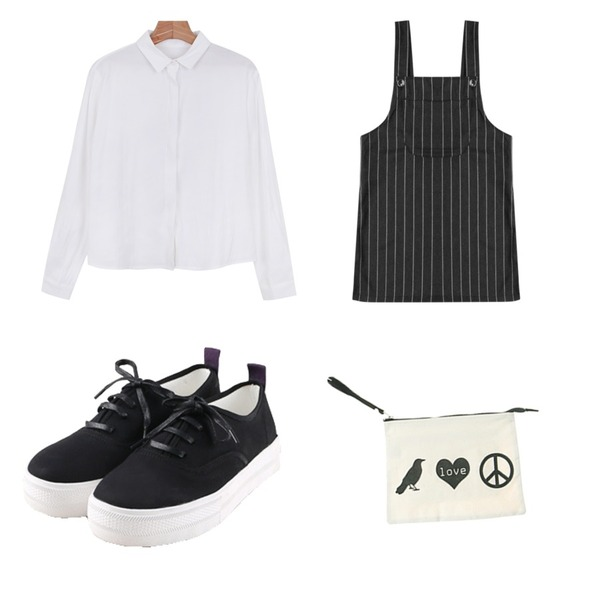 daily monday Comfortable basic sneakers,daily monday Cube feminine blouse,Rough & Detail bob stripe overalls, sk_charcoal등을 매치한 코디