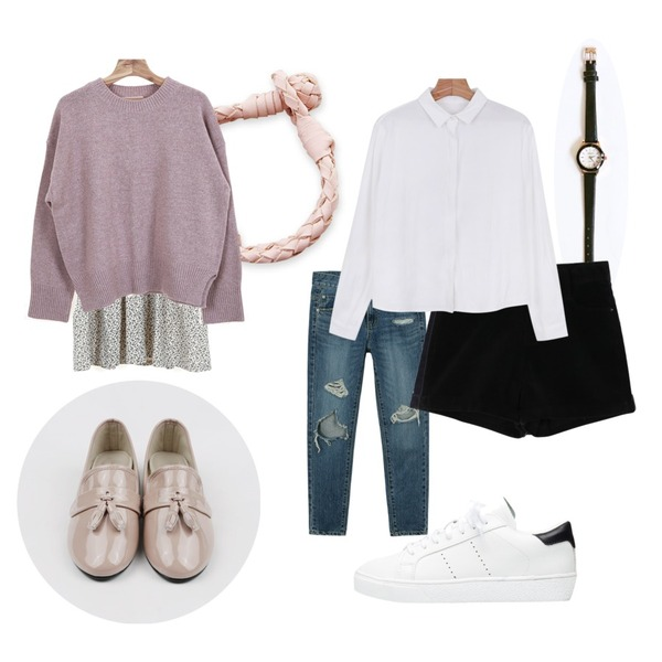 daily monday Round line leather watch,biznshoe Daily simple sneakers (2color),Zemma World Aldo pink (팔찌)등을 매치한 코디
