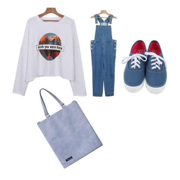 daily monday All day basic sneakers,daily monday MD choice denim overalls,daily monday Wish cutting man to man등을 매치한 코디
