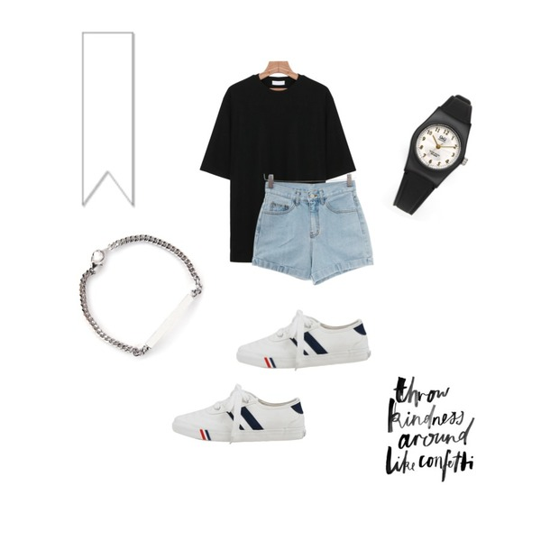 daily monday Super colors sneakers,Zemma World AA denim shorts,daily monday Muji simple t-shirt등을 매치한 코디