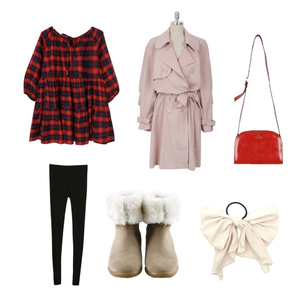 daily monday Colorfull rounding cross-bag[하프문크로스백,반달백,아페쎄백,컬러백],Rough & Detail check frill, ops,daily monday Pastel soft trench coat등을 매치한 코디