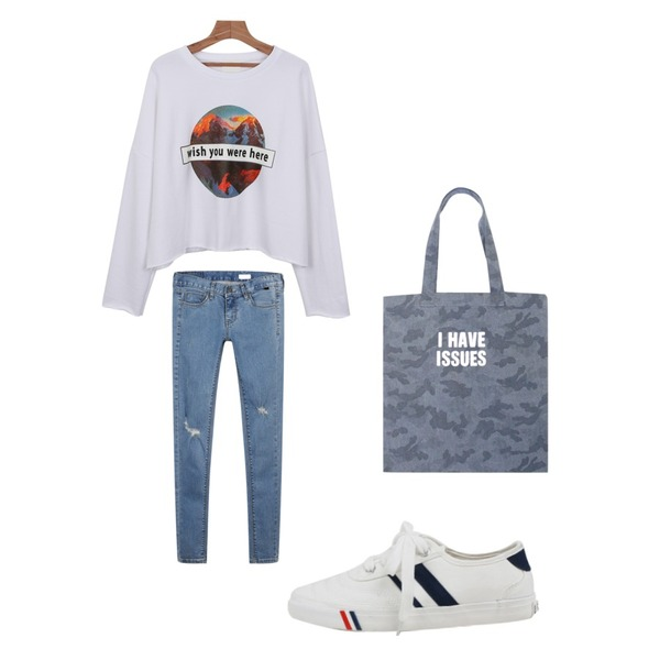 daily monday Damage unique skinny,daily monday Super colors sneakers,daily monday Wish cutting man to man등을 매치한 코디