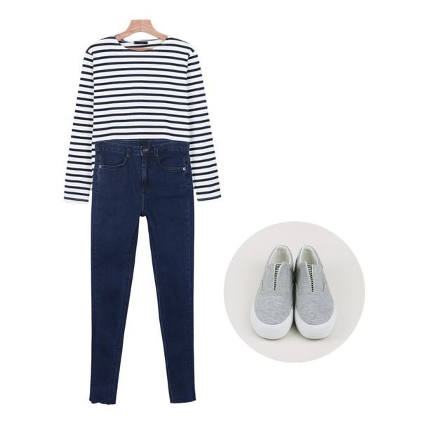 daily monday High cutting denim pants,daily monday Layered simple stripe tee,daily monday V-stripe wing slip-on등을 매치한 코디