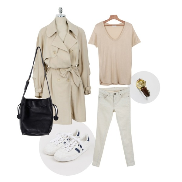 daily monday Brown Leather Watch,daily monday Casual basic sneakers,daily monday Pastel soft trench coat등을 매치한 코디