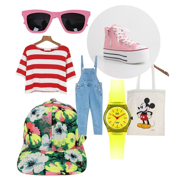 Rough & Detail green flower, cap,daily monday Daily Sunglasses(5colors),Zemma World (디즈니정품) Mickey bag 등을 매치한 코디