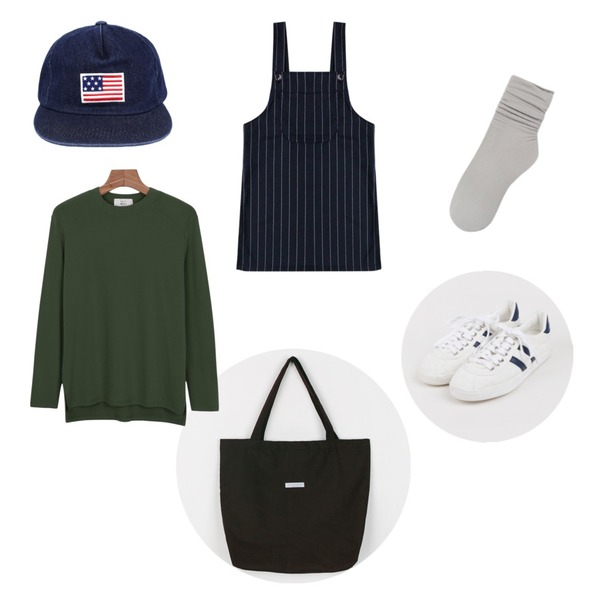 daily monday Basic eco bag,biznshoe USA snapback (2color),daily monday Daily natural basic tee등을 매치한 코디