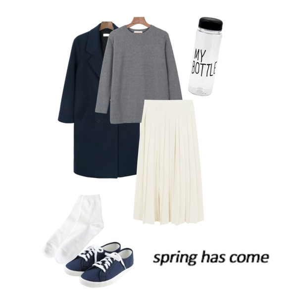 daily monday Double long coat[더블코트,롱코트,코트],daily monday Tension cozy soft tee,daily monday Muse long pleats skirt등을 매치한 코디