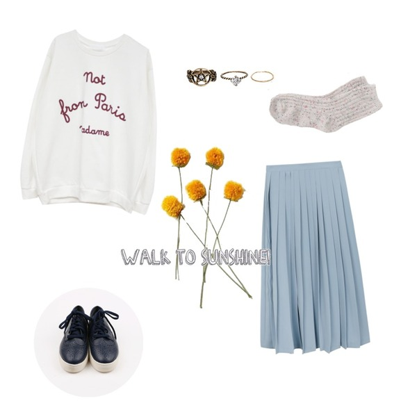 Rough & Detail french, t_ivory,daily monday Sister daily sneakers,daily monday Muse long pleats skirt등을 매치한 코디