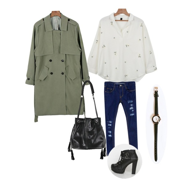 daily monday Soft spring trench coat,Rough & Detail destroyed skinny, pt_blue,daily monday Flower V-neck collar blouse등을 매치한 코디