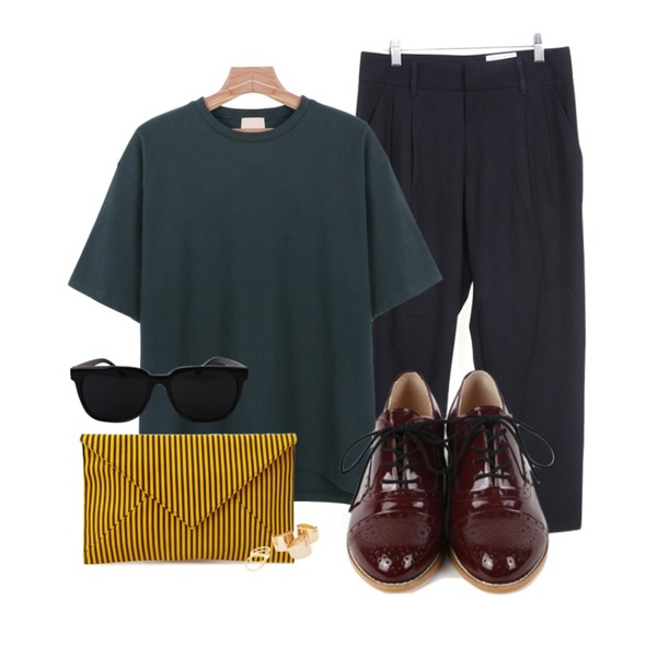 daily monday Formal enamel oxford shoes,daily monday Cotton unbal t-shirt  베이지 27일입고,Zemma World 하프-슬렉스등을 매치한 코디