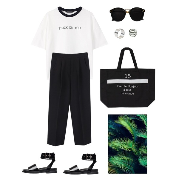 biznshoe Spring band slacks (2color),biznshoe On you printing tee (2color),biznshoe Snap bold strap sandal (2color)등을 매치한 코디