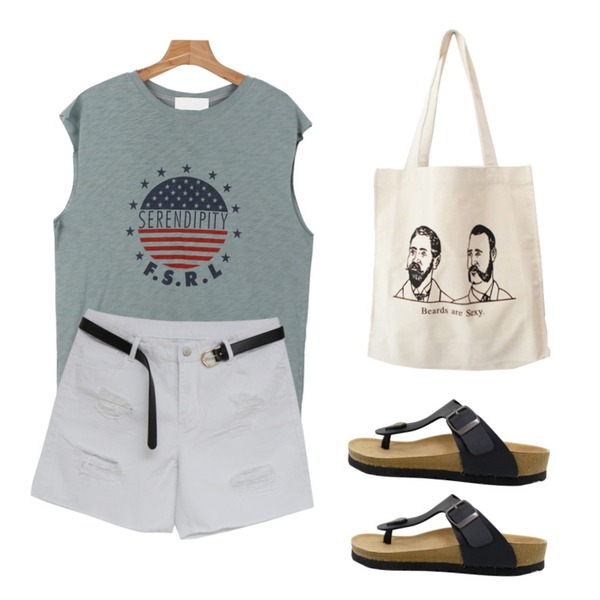 MIND ME 데미지 4부 와이드 팬츠 (3color  벨트세트!),Rough & Detail glory, shoes_black,daily monday Captain sleeveless top등을 매치한 코디
