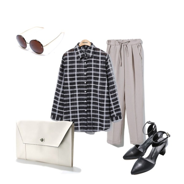 Reine Normal Roll-Up Slacks,Reine Check See-through Shirt ,Reine Horse Strap Heel등을 매치한 코디