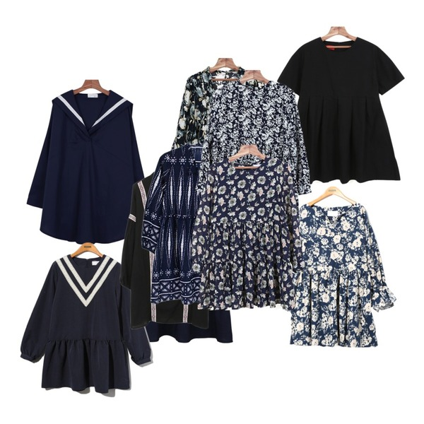 TODAY ME [dress]시안 플라워 원피스,daily monday Lovely flare mini ops,daily monday Sailor shirts one-piece등을 매치한 코디