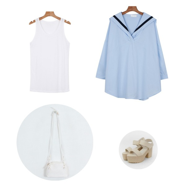 TODAY ME [shoes]파크 슈즈,daily monday Loose fit sleeveless,daily monday Sailor shirts one-piece등을 매치한 코디