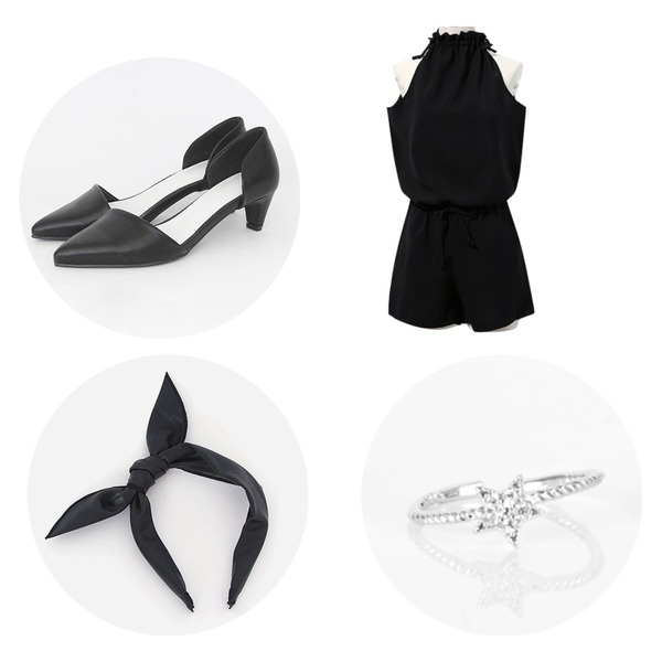 Reine Mom Halter-Neck Jump Suit,TODAY ME [shoes]라푼젤 슈즈,TODAY ME [hair]레더 헤어밴드등을 매치한 코디
