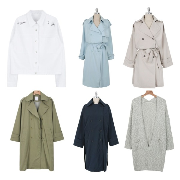 daily monday Double trench coat,daily monday Daily bright trench coat,MIXXMIX HIDE AND SEEK두들 포인트 크롭 점퍼등을 매치한 코디