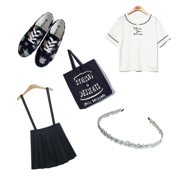 Rough & Detail popcorn flower, shoes_navy,TODAY ME [skirt]멜빵 테니스 스커트,Reine When You Beliere Blouse등을 매치한 코디
