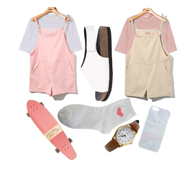 Reine Shoulder Pretty Jump Suit,daily monday Swan silky tee6/25 입고예정,daily monday Swan silky tee6/25 입고예정등을 매치한 코디