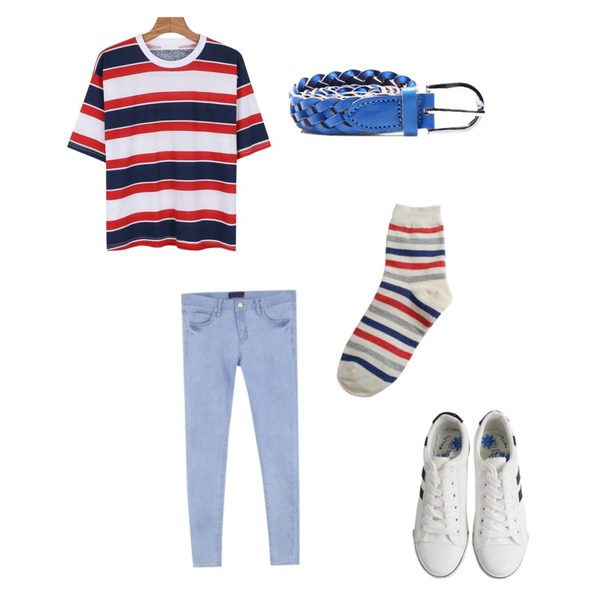 Rough & Detail easy canvas, shoes_white,MIXXMIX LAB꾸안꾸 찹쌀떡 스키니,daily monday Urban vivid stripe tee등을 매치한 코디