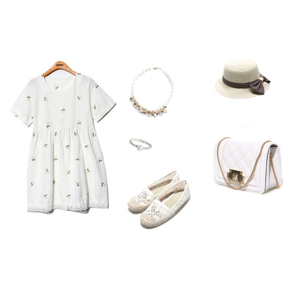 Reine Ribbon Trimming Panama Hat,Reine Punching Flat Shoes,Reine Vintage Flower Lace Onepiece등을 매치한 코디