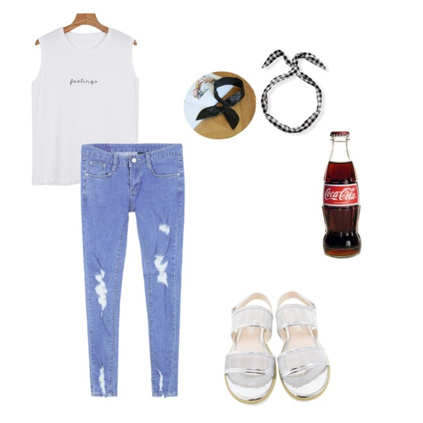 MIXXMIX 1093 데님 팬츠,Rough & Detail up down 2 line, shoes_silver,daily monday Spelling sleeveless등을 매치한 코디