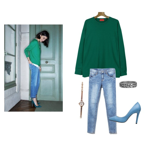 daily monday Basic style long t-shirt[티셔츠,티],Reine Major Denim Pant,-등을 매치한 코디