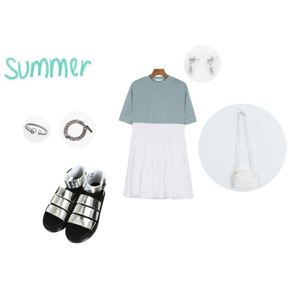 TODAY ME 카엘 백,daily monday Swan silky tee6/25 입고예정,daily monday Two shirring skirt등을 매치한 코디
